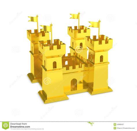golden house miniature gold toy stock illustration gold castle power of money isolated stock illustration