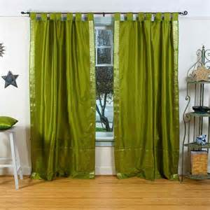 Olive Green Curtains Pair Of Olive Green Tab Top Sheer Sari Curtains 80 X 63 In Traditional Curtains By