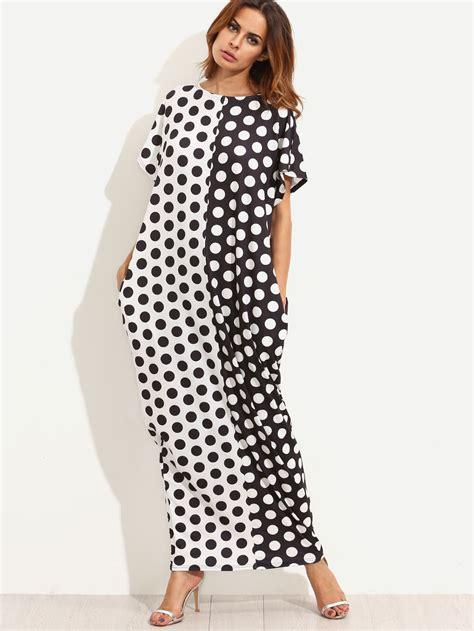 robe longue 224 pois avec poches noir blanc shein