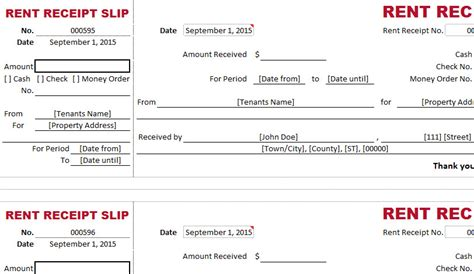 excel rent receipt template dual type rent receipt template my excel templates