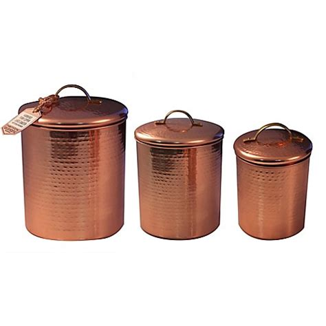 copper canister for a kitchen barh and beyond in greenville nc thirstystone 174 hammered copper canister with brass handle bed bath beyond