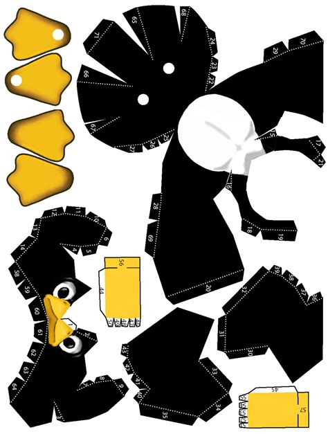 template new year tuxedo 3d card tux papercraft paperbotz