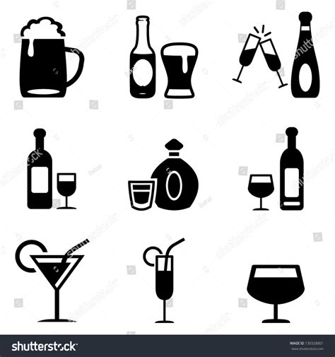 drink vector alcoholic drinks icons stock vector 130328801 shutterstock