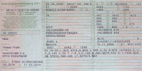 Motorrad Zulassung Teil 2 by Zulassungsbescheinigung Teil I Und Teil Ii Kennzeichenbox De
