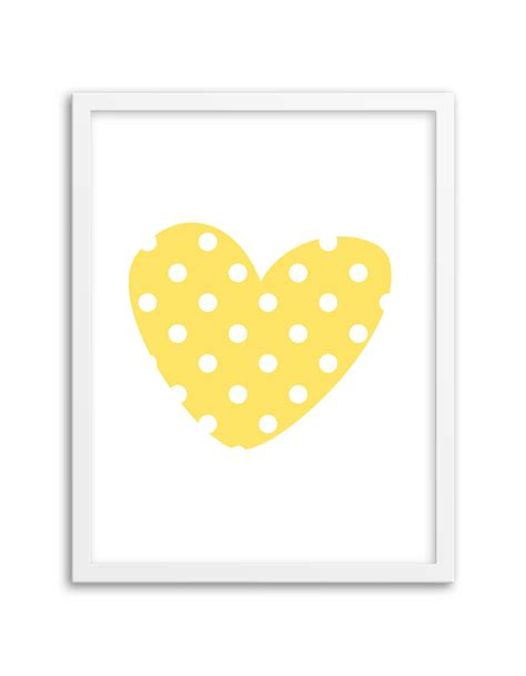 free printable wall art yellow free printable polka dot heart wall art