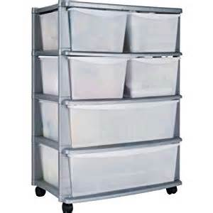 6 drawer plastic wide storage chest silver with