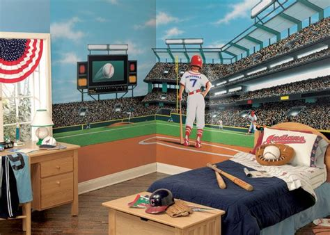 sports murals for bedrooms mlb baseball home decor wall murals and wallpaper borders