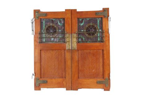 Antique Oak Saloon Doors With Beautiful Stained Glass Glass Saloon Doors