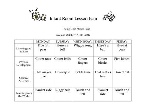 infants lesson plan template images