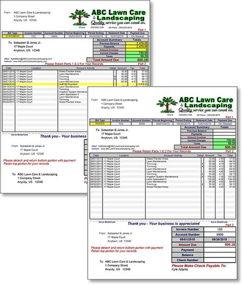 free lawn care invoice template printable lawn care invoice studio design gallery