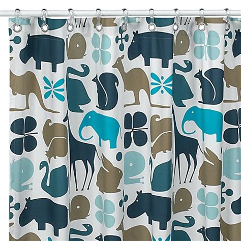 dwell shower curtain dwellstudio 174 gio aqua fabric shower curtain buybuy baby