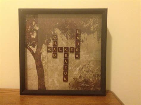 tye scrabble scrabble tiles scrapbook paper and a frame last name