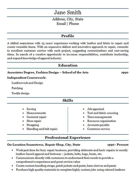 resume sample teacher resume seamstress resume example fabric repair service