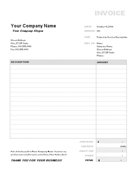 Business Invoice Template Free by Invoice Business Template Excel Free Hardhost Info