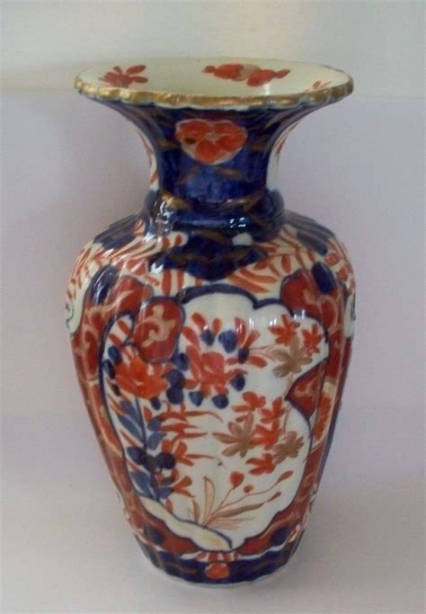 Imari Vases by Antique Japanese Imari Fluted Lobbed Vase Ca 1890 From