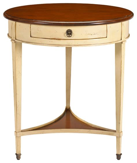 ivory accent table french heritage round table antique cherry top ivory