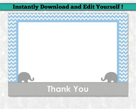 elephant thank you card template 12 best editable baby shower invitation templates images