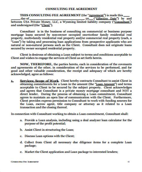 consulting fee agreement template simple consulting agreement sles 6 exles in word pdf