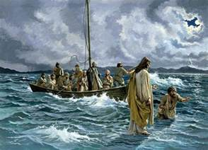 Flowers San Mateo - christ walking on the sea of galilee by anonymous