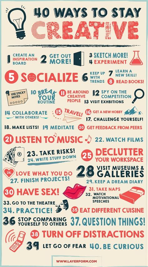 40 tips on creative writing a guide for writers to turn your into a successful book books 40 ways to stay creative daily infographic