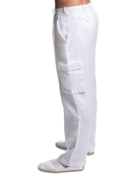 Linen Cargo Pants for Men   White Linen Cargo Pants   Island Company