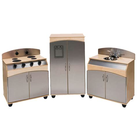 3 Kitchen Set by Steffy Wood 3 Faux Stainless Steel Play Kitchen Set