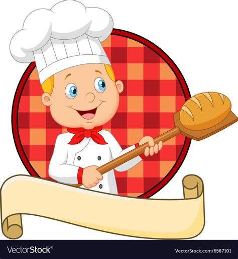 Kitchen Design Tool Free cartoon baker holding bakery peel tool with bread vector image
