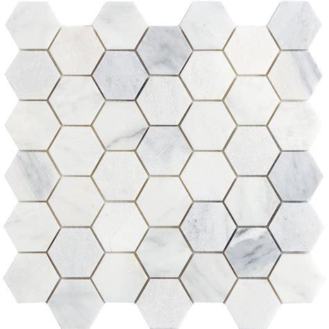 Home Depot Kitchen Tiles Backsplash Emser Winter Frost Hexagon Mix 12 In X 12 In X 10 Mm