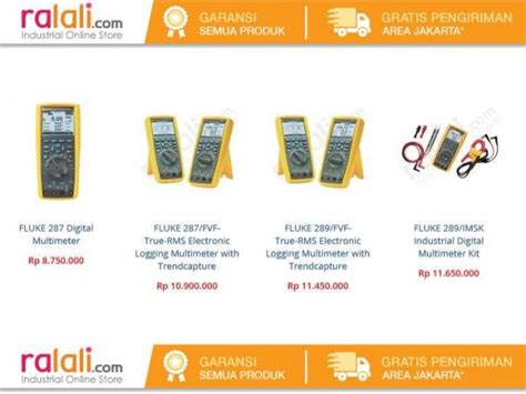 Daftar Multimeter Digital Fluke daftar harga multimeter merk fluke di indonesia