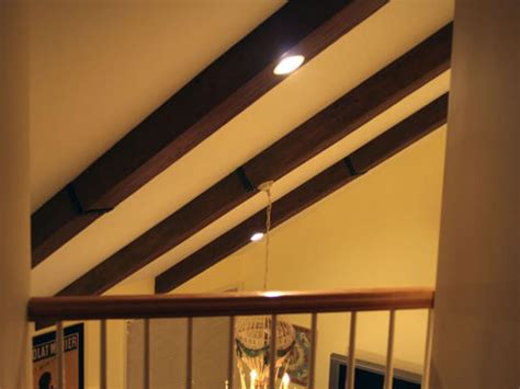 lights in ceiling beams faux ceiling beams create rustic feel hgtv