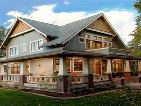 craftsman style cottage with wrap around porch hwbdo77189 craftsman style columns porch cottage style homes