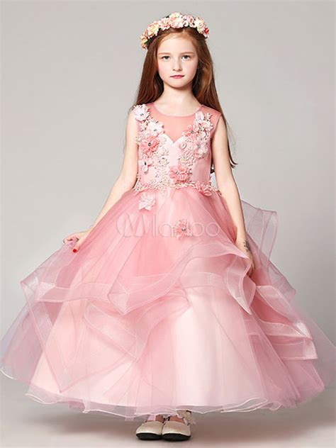 Fr Dress Giovany Kid Dress Anak flower dresses gown organza floor length applique soft pink pageant dresses