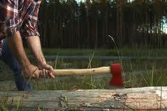 swing that gospel axe lumberjack with beard hat and shirt swings the ax stock