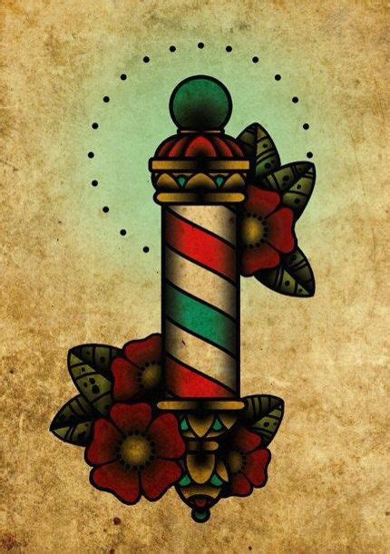 barber pole tattoo barber pole neo traditional flash by blackmast
