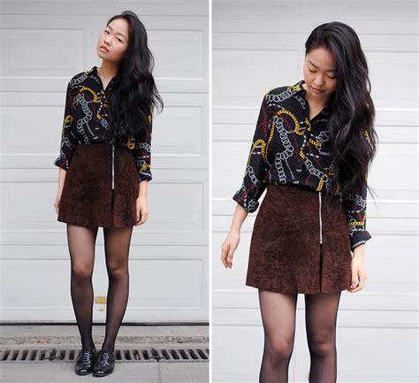 Zara Chain Brown meijia s zara chain pattern shirt vintage brown skirt