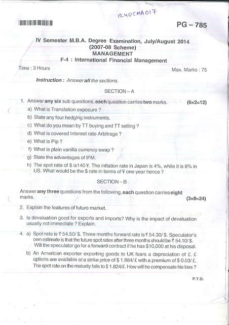Mg Mba 4th Semester Question Papers by Mba Bu International Financial Management 2014 Fourth
