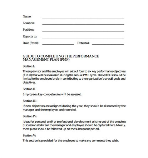 performance improvement plan template uk sle performance plan 6 documents in pdf word