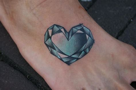 diamond heart tattoo unique shape on foot
