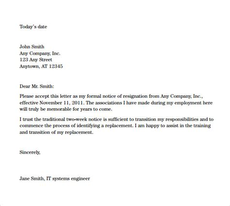 Letter Of Resignation Two Weeks Notice Pdf Sle Resignation Letters 2 Week Notice 8 Free