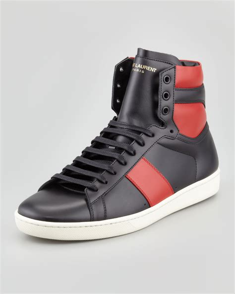 s laurent sneakers laurent twotone leather hightop sneaker in black for