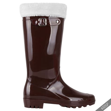 sock boots womens ebay womens winter fur sock knee wellington boots patent stud calf wellies ebay