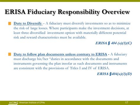 erisa section 404 a fiduciary responsibilities and risks
