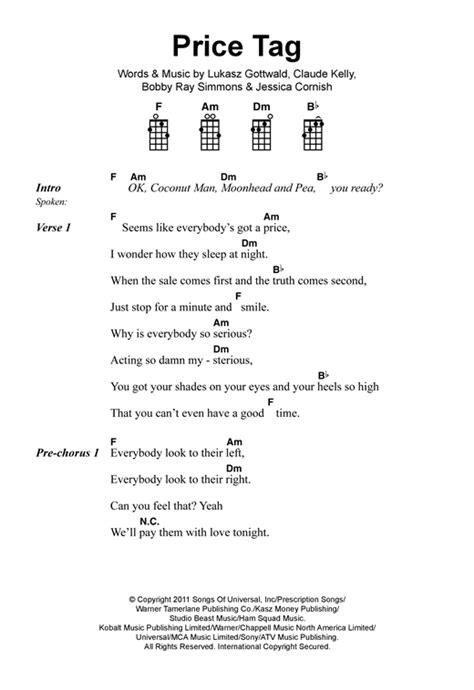 Jessie J Price Tag Guitar Chords