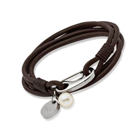 leather bracelets s brown leather bracelet pearl un b67db