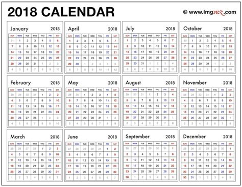 2018 year at a glance calendar template printable
