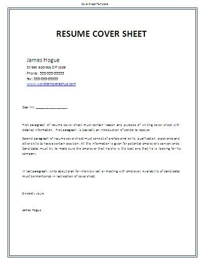 Cover Page For Resume by Sheet Templates Wordtemplateshub