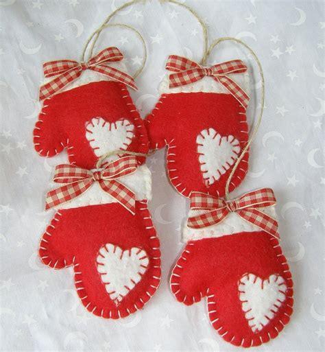 felt mittens handmade christmas ornament