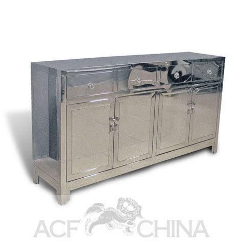 Contemporary Asian Stainless Steel Buffet In Chrome Stainless Steel Buffet
