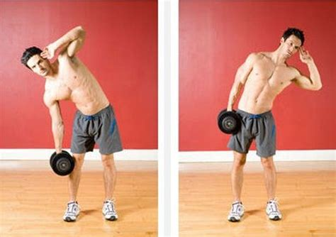 the dumbbell side bend it hits the obliques and the larger and stronger your obliques
