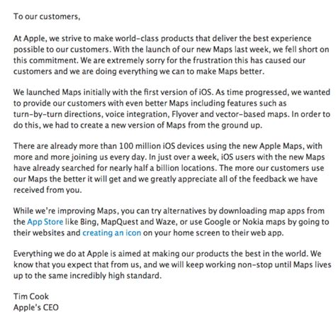 Customer Letter To Apple Apple Maps Is So Horrible The Company S Ceo Just
